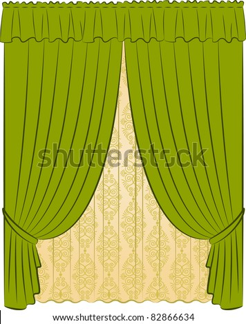 The vintage curtain. Vector