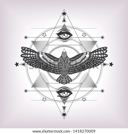 The vintage print for t shirt, tattoo art, coloring book. Esoteric emblem.  Eye of providence with sacred geometry and eagle. Six pointed star and drawing flying bird with magic look. Masonic symbol.