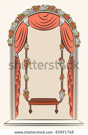 The vintage swings with curtain and flowers. Vector