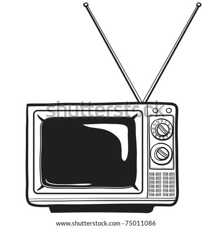 the vintage tv a sketch of old