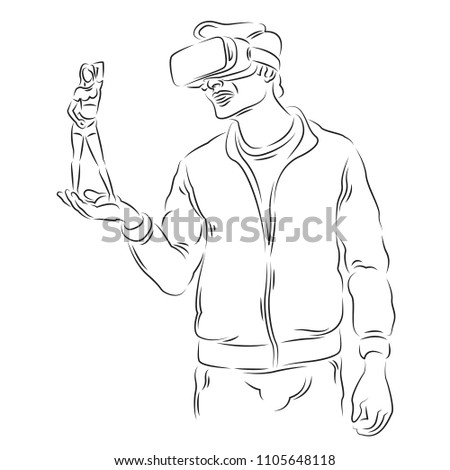 the virtual reality a man in