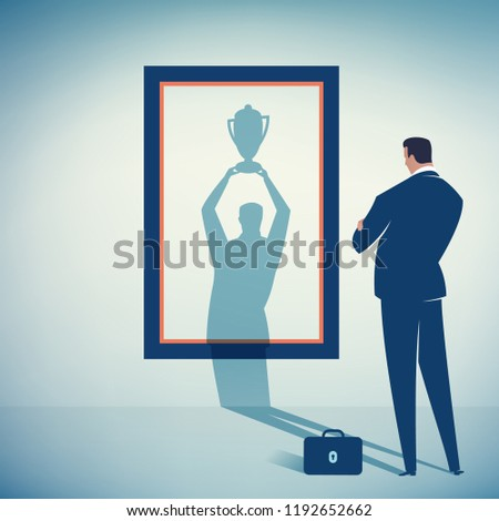 The Vision. Businessman watches his shadow and contemplating about success. Business vector concept illustration