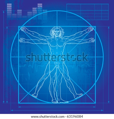 The Vitruvian man Blueprint version So-called Leonardo's man Detailed vector drawing based on the artwork by Leonardo da Vinci c 1490.