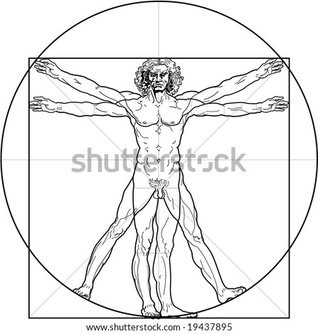 The Vitruvian man Detailed drawing on the basis of artwork by Leonardo da Vinci executed circa in 1490 by ancient manuscript of Roman master Marcus Vitruvius Pollio.