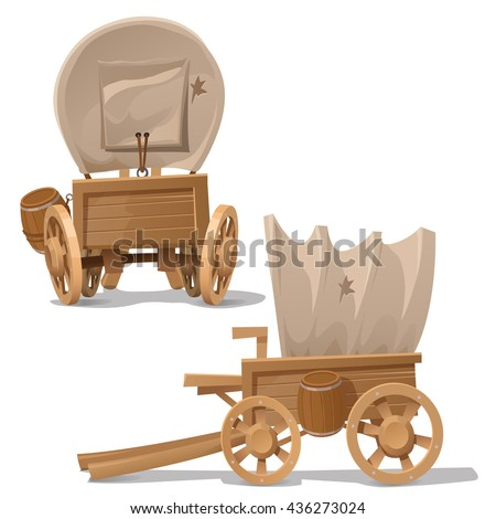 The wagon in the wild West style isolated on a white background. Cartoon vector close-up illustration.
