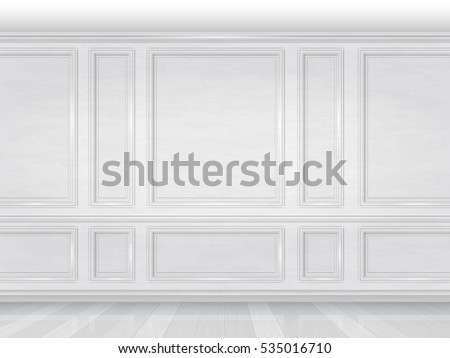 White Wood Wall Panel Background