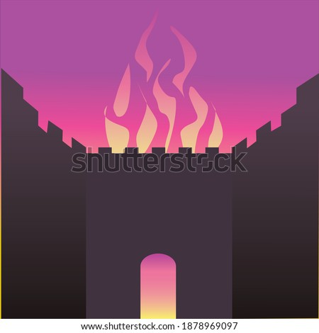 The wall of the Temple in Jerusalem is burning. Vector drawing of a black silhouette of a gate made of ancient stones and behind it a burning fire that also comes out of the round gate Stockfoto ©