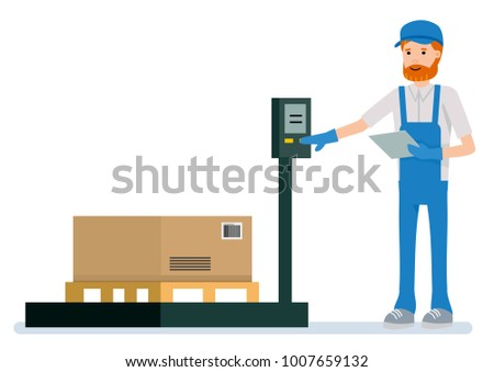 the warehouse worker is weighing the cargo Objects isolated on white background.