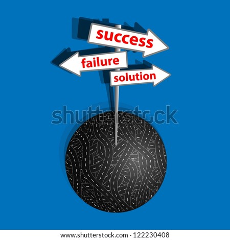 The way to success on the business competition. A vector illustration.