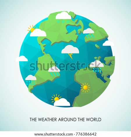 The weather condition around the 3D world.(EPS10 art vector)
