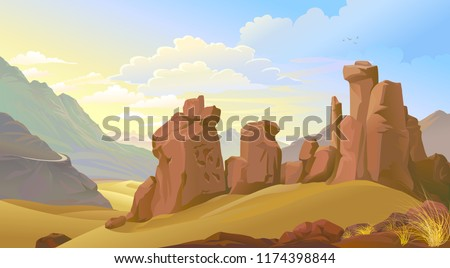 the weathered rocks and