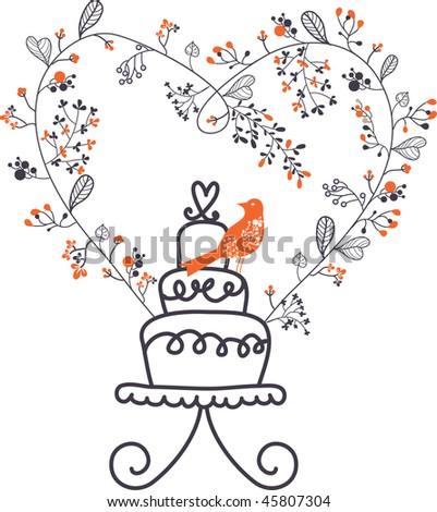 stock vector the wedding cake
