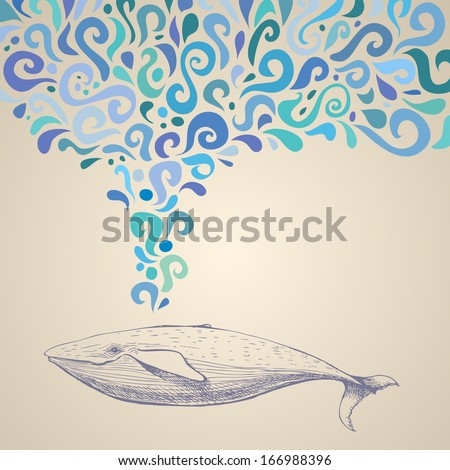 The whale with colorful abstract fountain. Hand drawn vector illustration. Can be used separately from backdrop or postcard. Foto stock ©