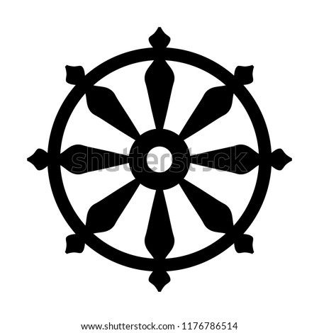 The Wheel of Samsara — Oriental Sacral Religious Symbol of Reincarnation: the cycle of death and rebirth to which life in the material world is bound (fundamental assumption of all Indian religions). Сток-фото ©