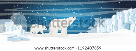 Stock Photo The white bear and her cub bear walks through the snow. Mother and child. The glacier, snow-covered plains. Starry night in the North. Landscapes of the Arctic.