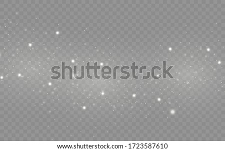 The white dust sparks and star shine with special light, sparkling magic dust particles isolated on transparent background, Christmas sparkl light effect, sparkle, shine lights, vector illustration.