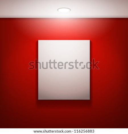 the white frame on a red wall