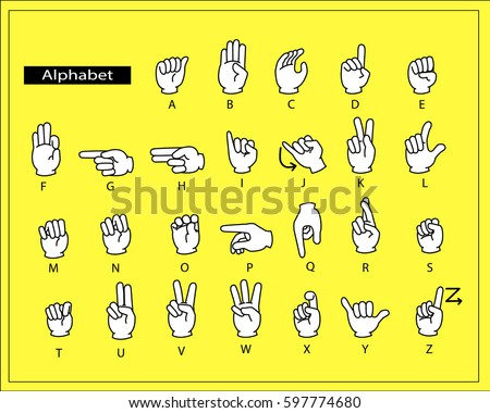 The white hands are doing alphabet sign language.