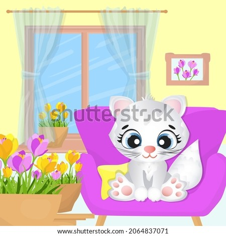 The white kitty is sitting on the couch in the room. Colorful vector illustration.