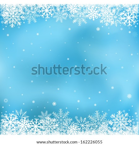 The white snow on the blue mesh background, winter and Christmas theme