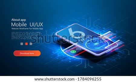 The Wi Fi 6 logo on smartphone is blurred on a futuristic blue background. The smartphone connects to the new high-speed wifi network 6. Smartphone with 3D isometry. High Internet speed, speed test