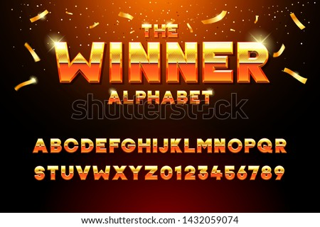 The Winner Alphabet. Vector golden glossy three dimensional font effect in orange and yellow. Metal typeface withy golden bars and stars inside. Luxury alphabet design for casino, premium business, vi