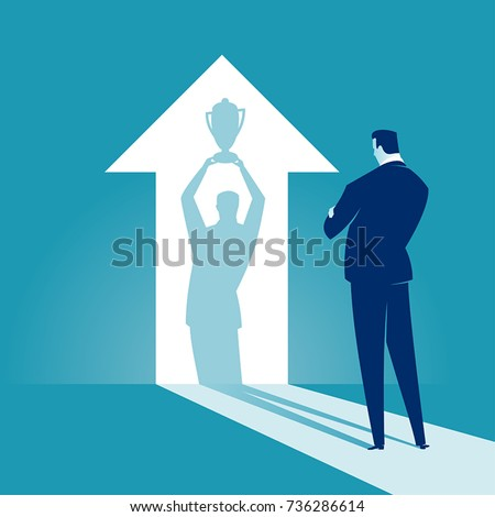 The Winner. Businessman watches his shadow and contemplating about victory. Business vector concept illustration