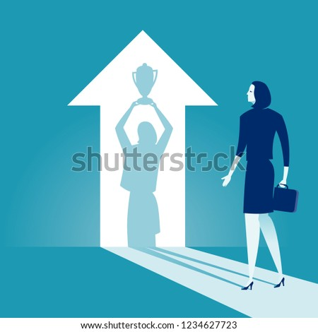 The Winner. Businesswoman watches his shadow and contemplating about victory. Business vector concept illustration