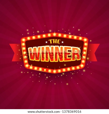 The winner retro banner with glowing lamps