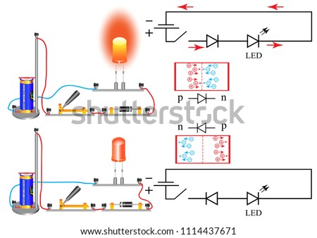 The wiring diagram in which there is a diode. A diode is a semiconductor device having two contacts - an anode and a cathode, a current flows through the diode, which flows only in one direction.