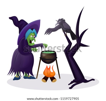 Stock Photo The witch is preparing a potion, on the tree sits a black raven features a wing, cute design, entertainment and a weekend