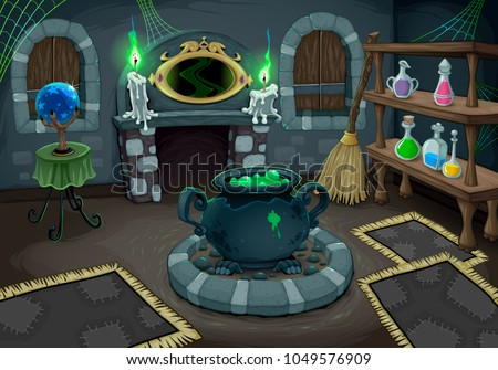 the witch room vector cartoon