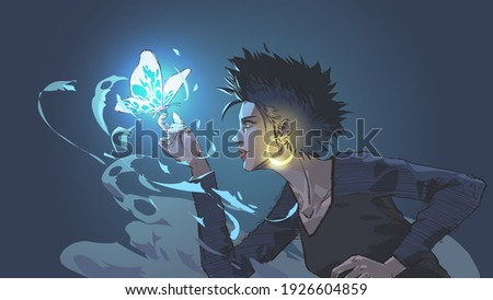 the witch summons a glowing blue butterfly with magic power, vector illustration Stock fotó ©