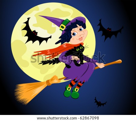 The witch with a cat flies on the sky. Halloween vector illustration.