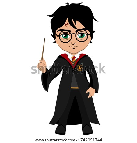 The wizard with glasses holds a magic wand. Vector illustration