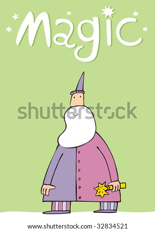 The wizard with the big beard and a magic wand an illustration