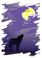 The wolf crying at the moon. Image is look-alike of a painting