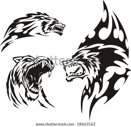 The wolf has opened a mouth. Tribal predators. Vector illustration ready for vinyl cutting. - stock vector