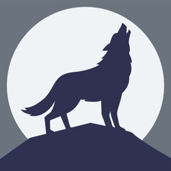 The wolf howling at the moon, vector illustration, silhouette of wolf