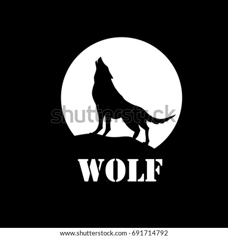 The wolf howls to the moon logo. Vector