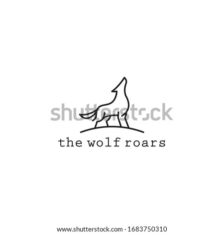the wolf roars line logo icon