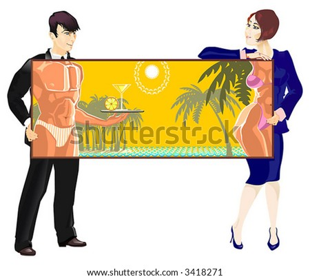 The Woman and man keeps the picture. On picture are shown the bodies of denuded tanned people  on the beach of sea and near palms.