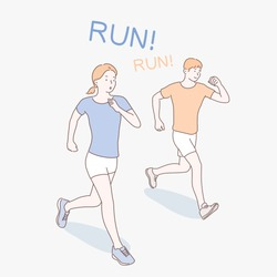 The woman and the man are running together. hand drawn style vector design illustrations.