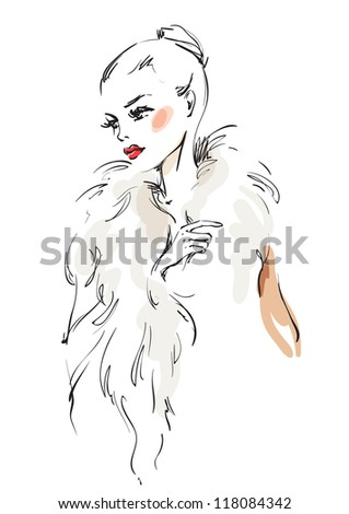 the woman in a fur coat