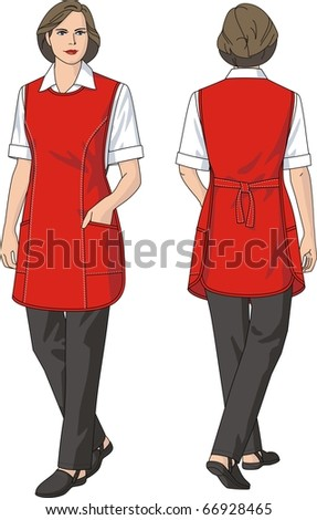 The woman in an apron and trousers
