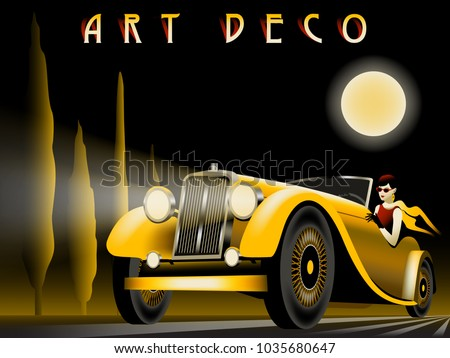 The woman in the car on the road. Handmade drawing vector illustration. Art deco style.