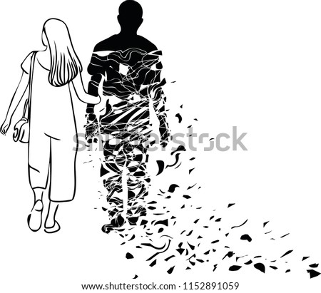 The woman is imagining her loved one's who lived far away with a shadow holding arms.