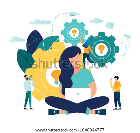 The woman is working on the development of the design concept idea project. people help to generate an idea. creative business project. vector illustration. Gear metaphor as a workflow