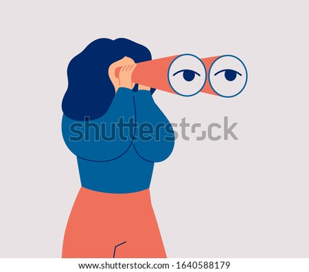 The woman looks through her large binoculars, looking for something. The girl is watching someone closely. Vector cartoon illustration  Foto stock ©