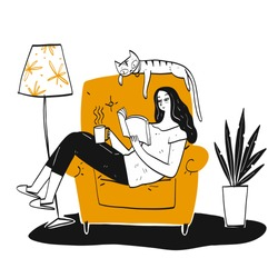 The woman reading a book on favorite sofa with a big cat. Hand drawn, Vector Illustration doodle style.